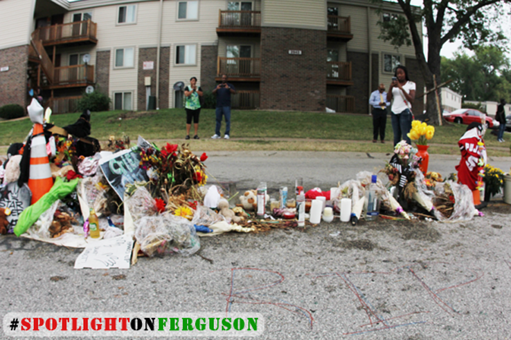Mike Brown's Living Memorial. The place where he drew his final breaths in front of friends and community while Darren Wilson watched him die. (Ferguson)