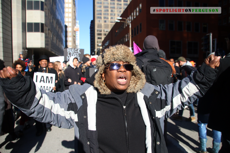 Mama Cat leads protestors through downtown St. Louis: No Justice, No Peace, No racist Police! (St. Louis)
