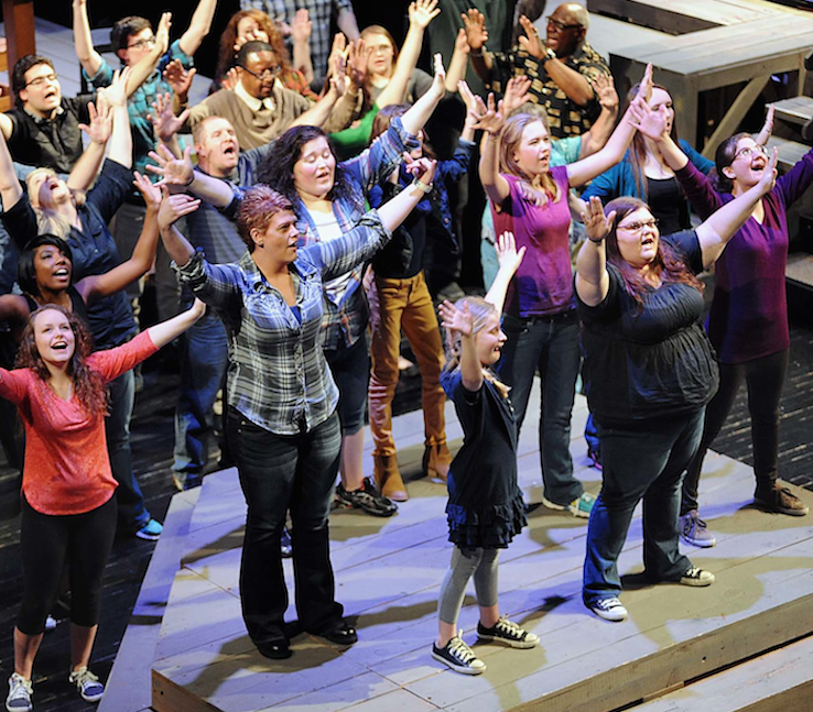 The cast of Higher Ground 5: Find A Way, during a performance in April, 2015 at the Godbey Appalachian Center in Cumberland, Kentucky. Photo: Chris  Jones.