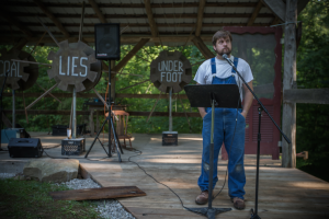 "Bob Martin as ""Ezell"" in Clear Creek's Land, Water, Food, Story. Photo: Melisa Cardona, 2014."