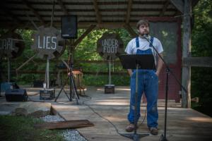 "Bob Martin as ""Ezell"" in Clear Creek's Land, Water, Food, Story. Photo: Melisa Cardona, 2014."