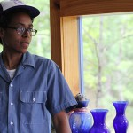 Joan Mitchell Visual Arts Scholar Muthi Reed in Camillie's studio at Azule.