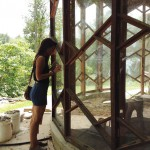 Joan Mitchell Visual Arts Scholar Jessica Caldas and Azule's soon-to-be passive solar heated pool.