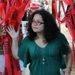 Joan Mitchell Visual Arts Scholar Michelle Gomez explores Barton's Peace Garden.