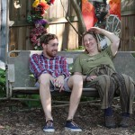 ROOTers Joseph Thomas and Val Lyle chill in Barton's Peace Garden.