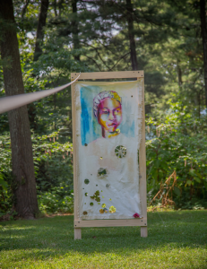 """Several mixed media portraits by Angela Davis Johnson were installed around the site specific """"the Hollerin Quiet,"""" a collaboration between Johnson and Serena Muthi Reed. Photo: Melisa Cardona, 2015."""