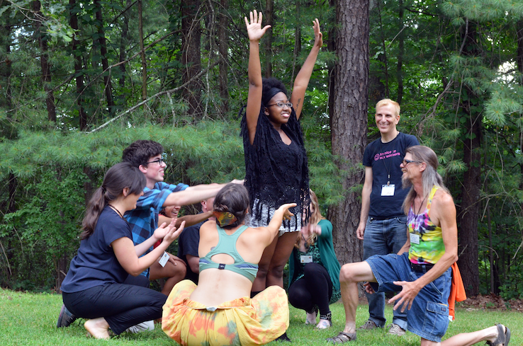 Participants in the Beyond Coal & Toward New Power Learning Exchange created short theatrical works inspired by their story circles. Photo: Nicole Garneau, 2015.