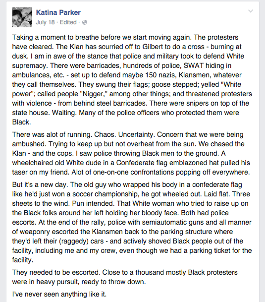 A screen shot of Katina's Facebook post, written on the ground at the Confederate Flag rally in Columbia, SC on July 18, 2015.