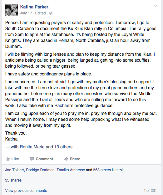 A screen shot of Katina's public request to friends and family for prayers of safety and protection, prior to attending and filming the Confederate flag rally in Columbia, SC.