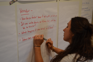 Lauren Hind, ARVAIE Co-chair taking notes during discussion. Photo: Michelle Ivette Gomez, 2015.