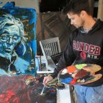 Many local and national artists choose to spend weeks in residency at Azule. This is Aaron Shelton, painter resident in 2016 who created this incredible portrait of Camille in his inimitable style. (Photo: Azule Archives)