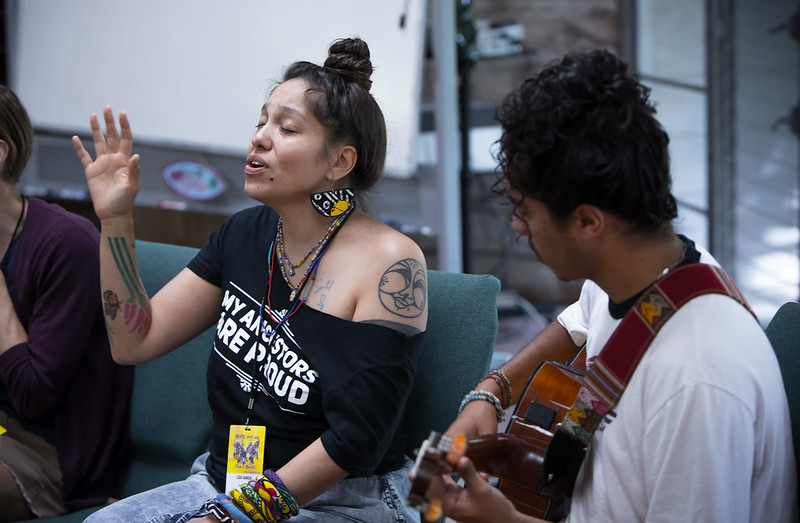 "Liza Garza, facilitating the ""Cultivating Joy"" workshop at ROOTS Week 2019. Photo: Melisa Cardona"